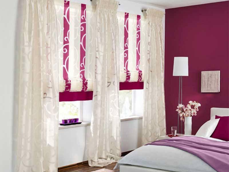 сочетание штор в спальне