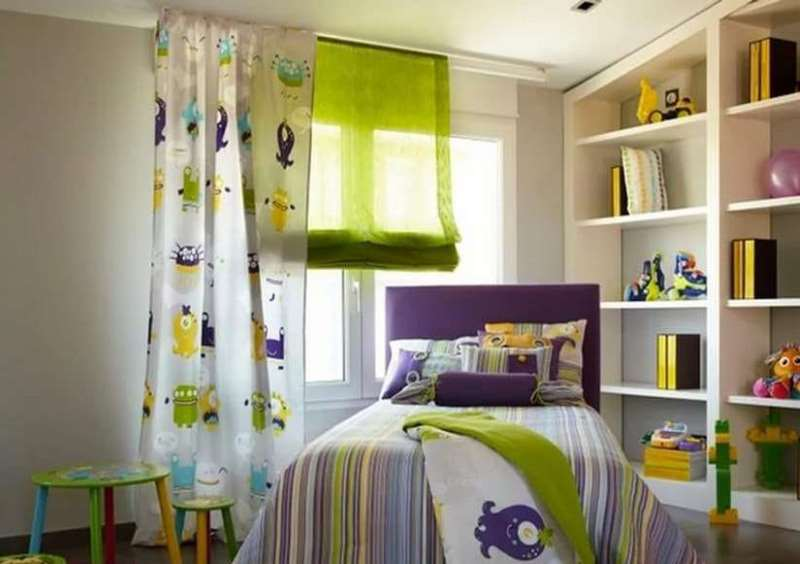сочетание шторы и постельного белья