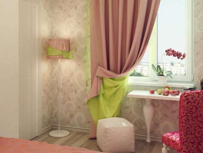 двухцветные шторы на подкладке