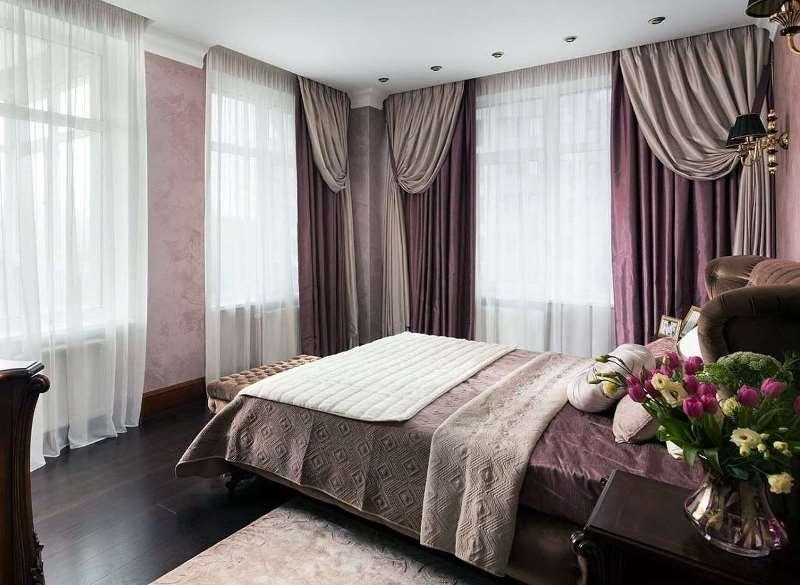 итальянские занавески в современной спальне