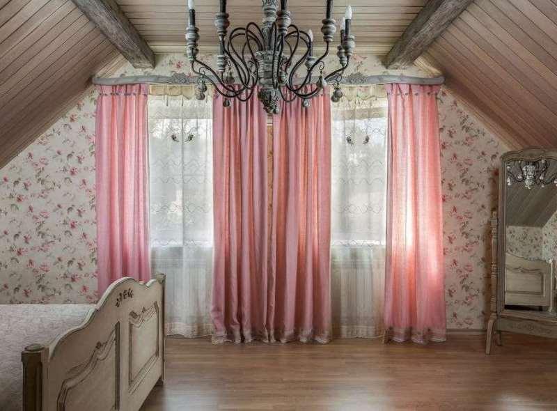 нежно розовые занавески в пол