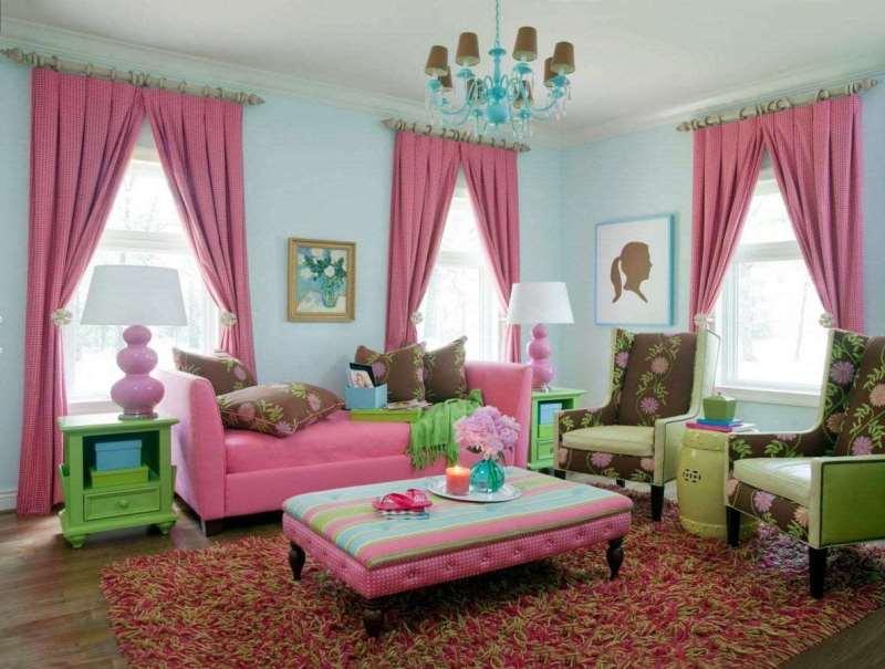 розовые шторы в интерьере