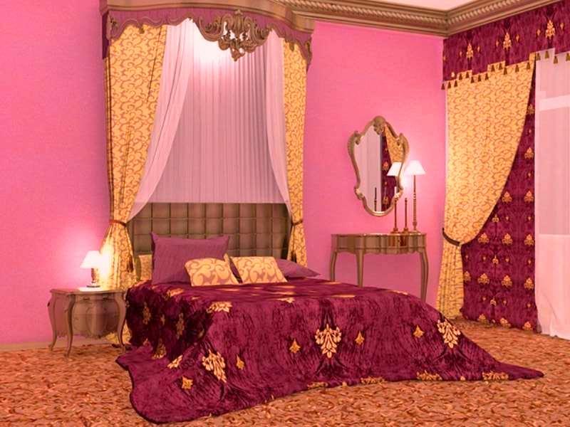 шторы в спальне под цвет покрывала