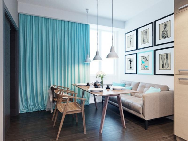 голубые шторы в интерьере небольшой столовой