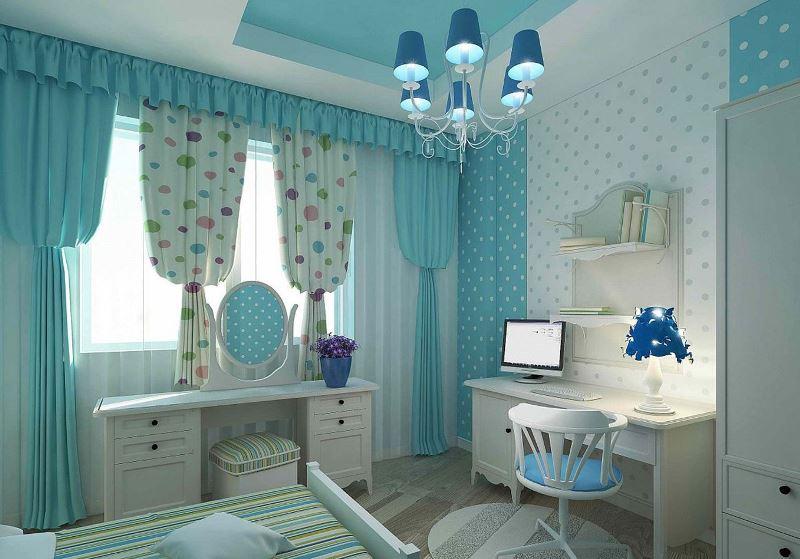 лазурные шторы в интерьере комнаты для девочки