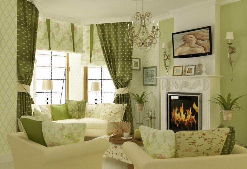 прекрасный пример сочетания рулонных штор и портьер в провансе