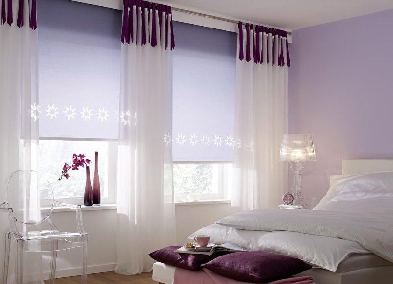 рулонные шторы нейтральной расцветки для спальни