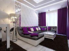 Шторы фиолетового цвета в интерьере гостиной, спальни, кухни и детской