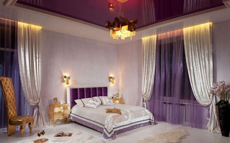 Сиреневый тюль в интерьере спальни