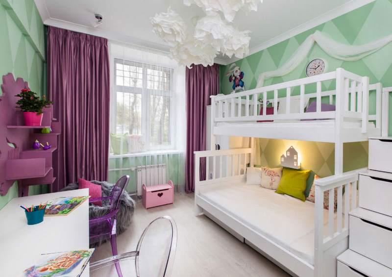 фиолетовые шторы в детской