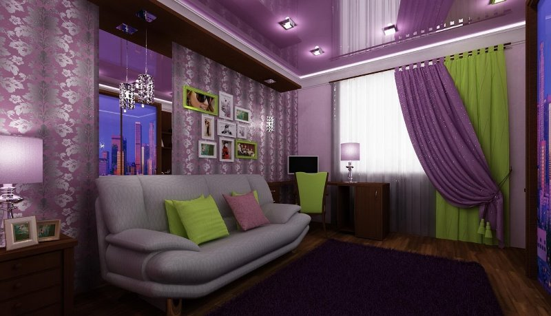 гостиная в сиреневых цветах