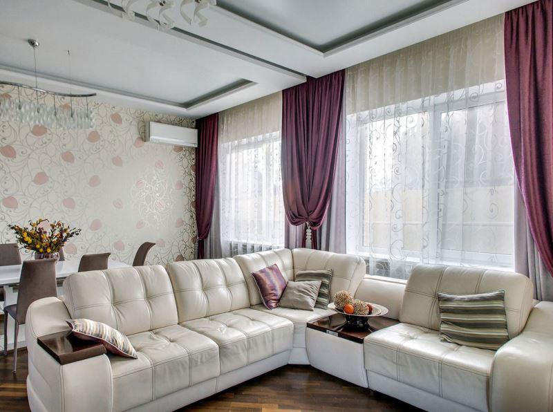 лиловые шторы в современном интерьере