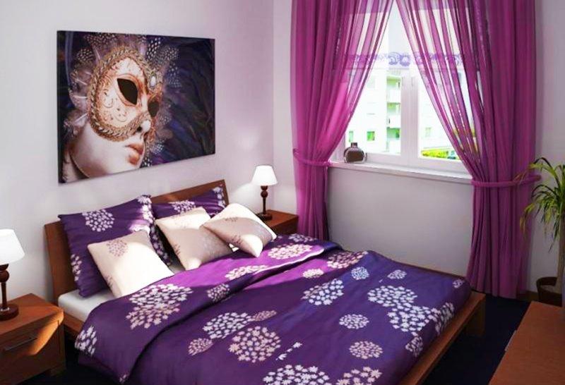 лиловый тюль в спальне