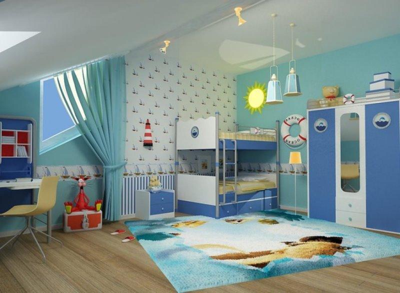 морской стиль в комнате для мальчика