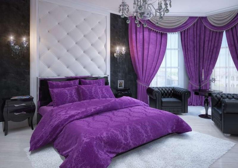 плюшевые фиолетово-сиреневые шторы в спальне