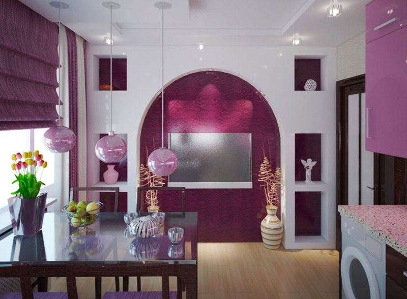 римские шторы фиолетового цвета на кухне