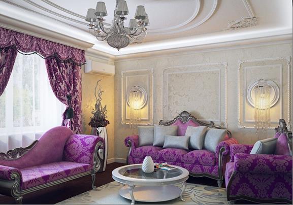 рисунок на шторах оживляет фиолетовый цвет