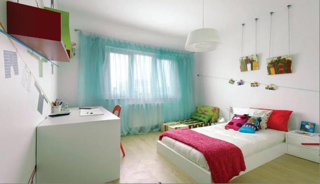 шторы для девочки сделанные из тафты бирюзового цвета