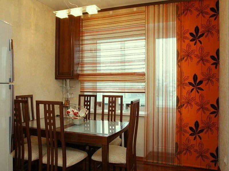 смешение красок шторных занавесок для кухни
