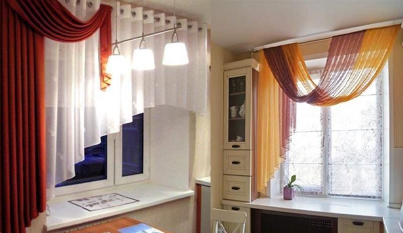 варианты подвешивания шторы на кухне
