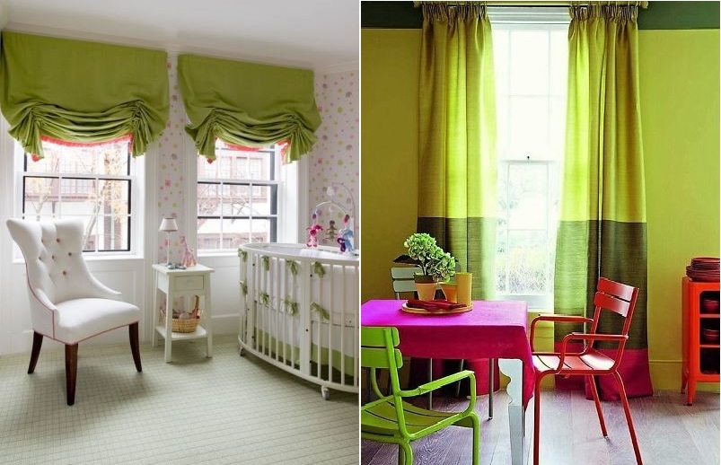Оливковые шторы в детских