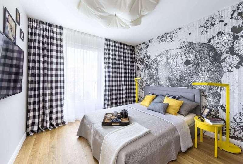 черно-белые шторы комнате в стиле хай-тек