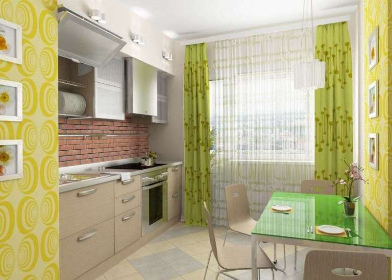 дизайн-проект кухни со шторами фисташкового цвета