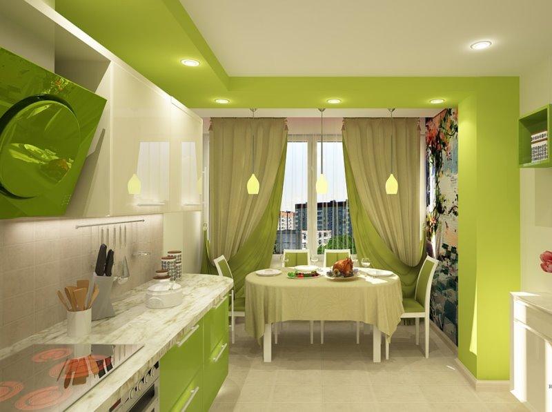 фисташковые шторы на кухне
