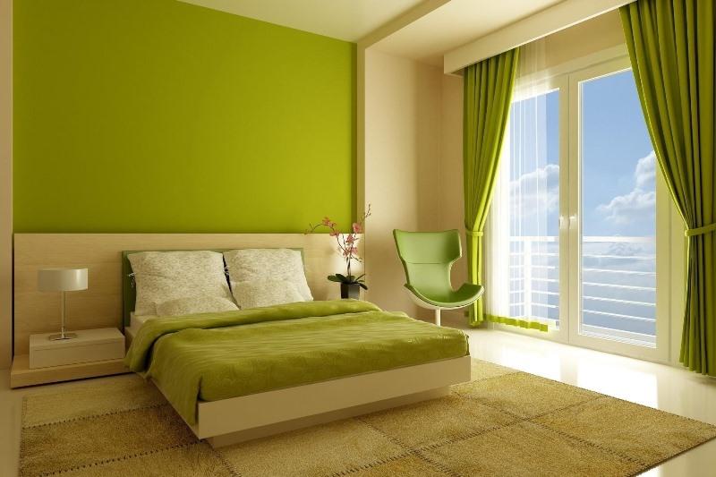фисташковые шторы в минималистическом стиле спальне
