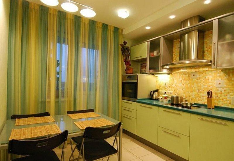 игра цвета в интерьере кухни