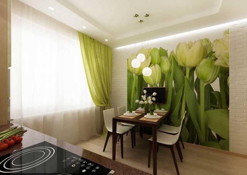 легкая светло-зеленая штора ну кухне
