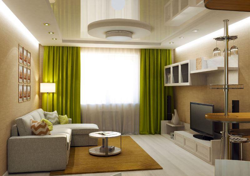 портьеры фисташкового цвета в гостиной
