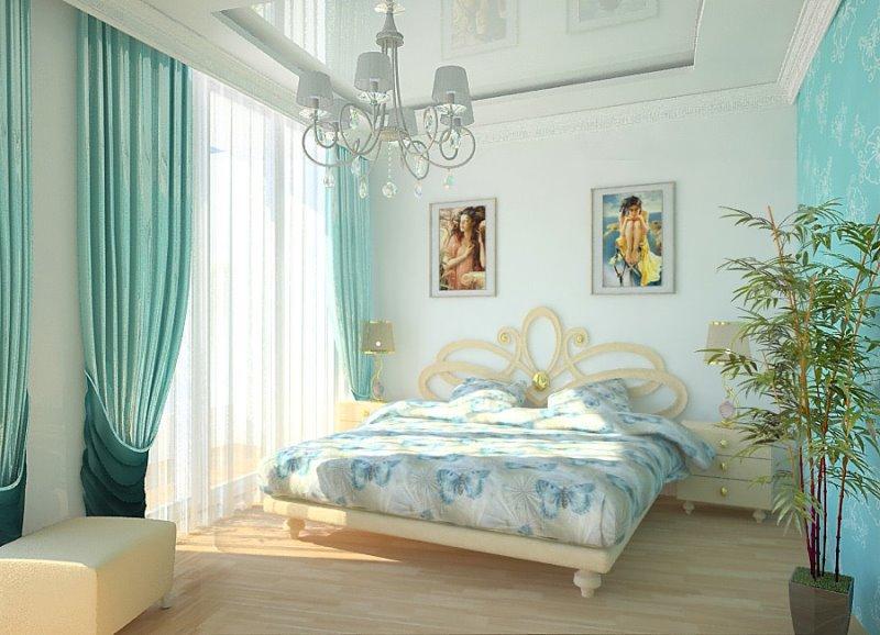 портьеры спокойного цвета в спальне