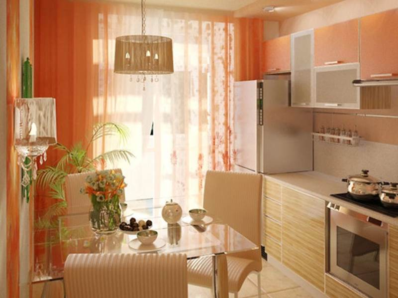 преобладание оранжевого на кухне