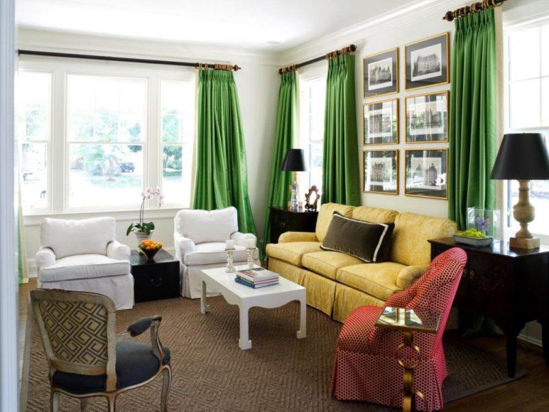 шторы в зале могут быть единственной зеленой вещью