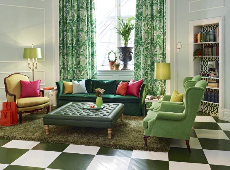 сочетание зеленого в гостиной