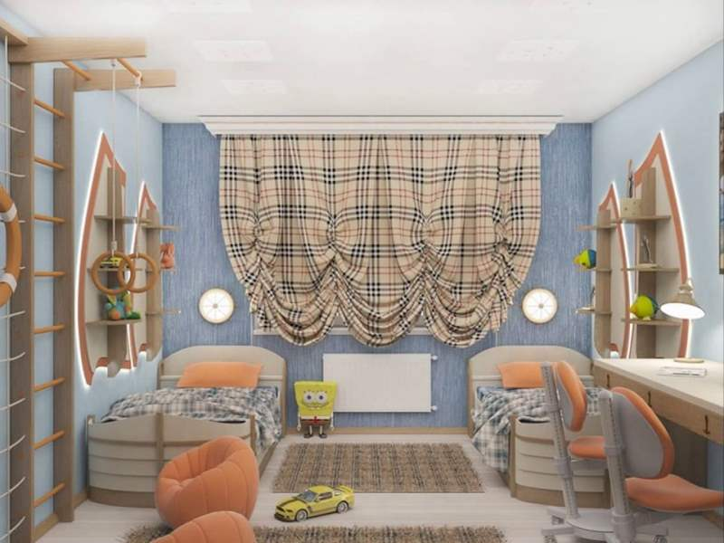 узор Тартан в комнате для мальчика