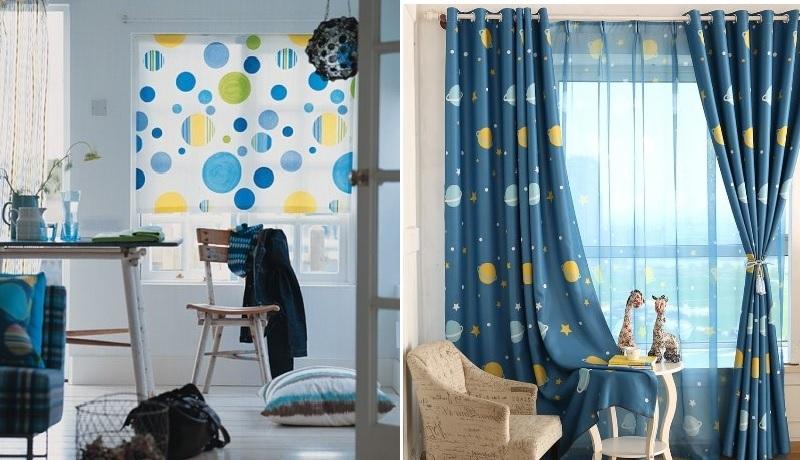 в комнате для мальчика горошек стилизуется под планеты и пузыри