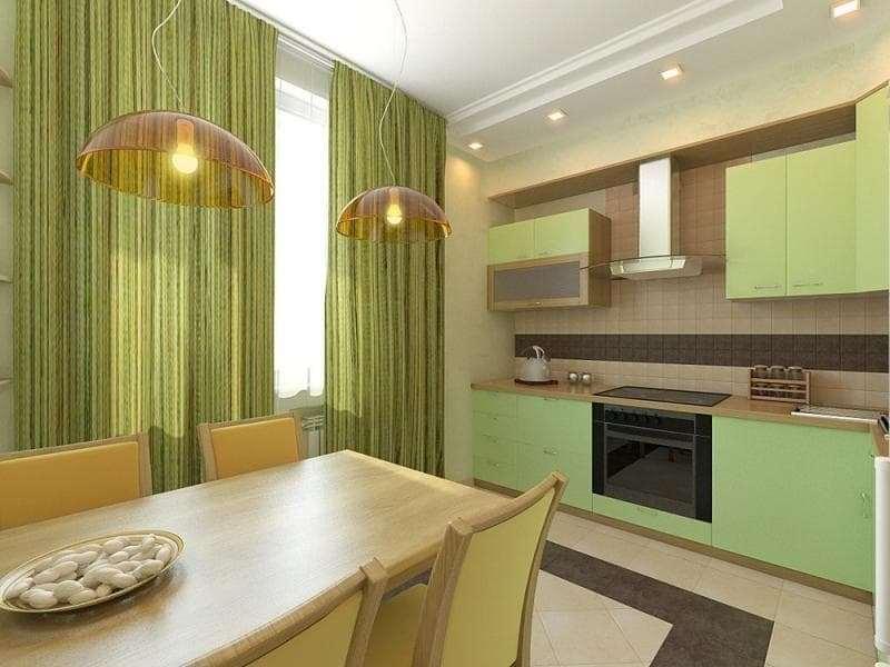 занавески оливкового цвета на кухне
