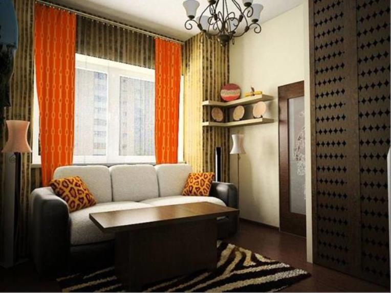 занавески оранжевого цвета в интерьере с преобладанием темных оттенков