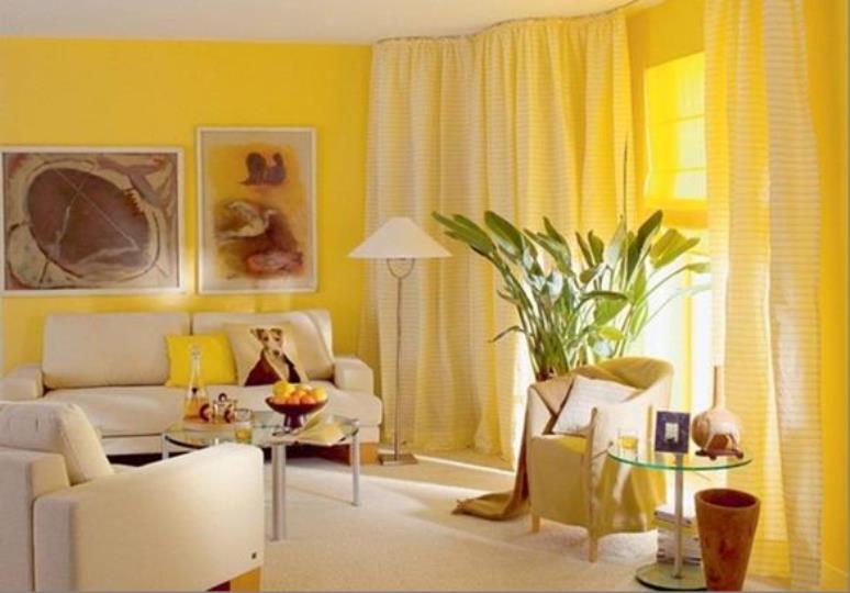 занавески в желтую полоску