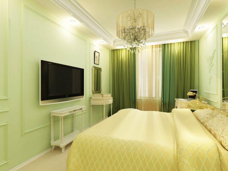 зеленый цвет в спальне расслабляет
