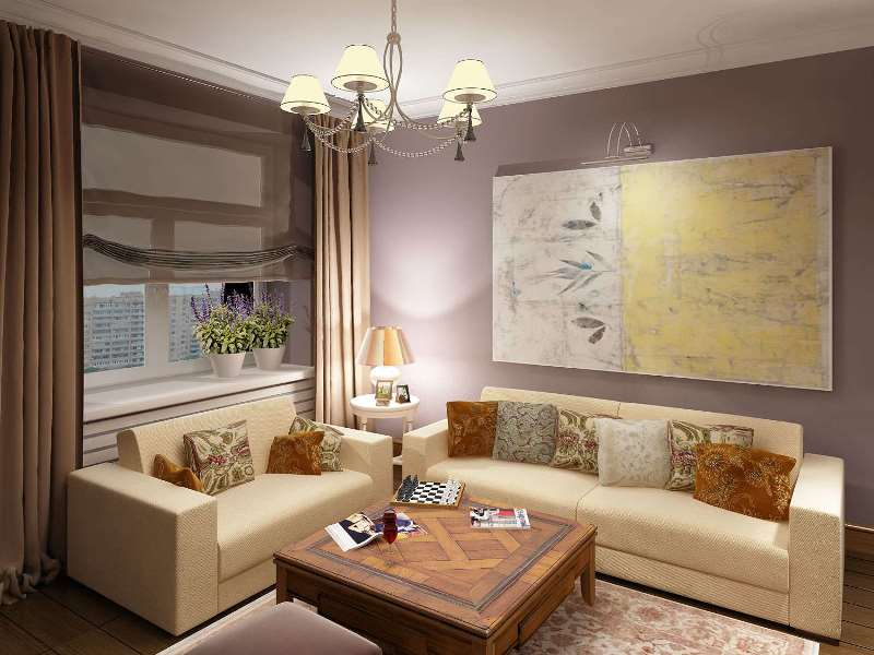 Портьеры и римская штора в интерьере гостиной