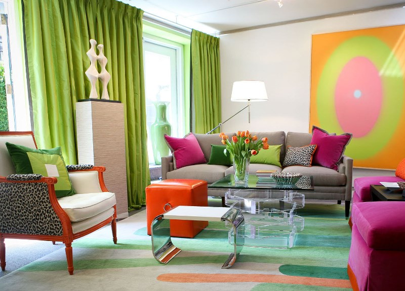 Текстиль и шторы в авангардной гостиной