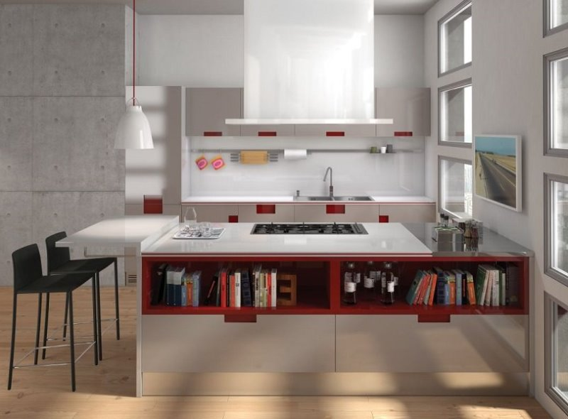 стиль авангард в кухне подчеркивается соответствующей мебелью