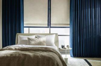 Шторы в спальню синие